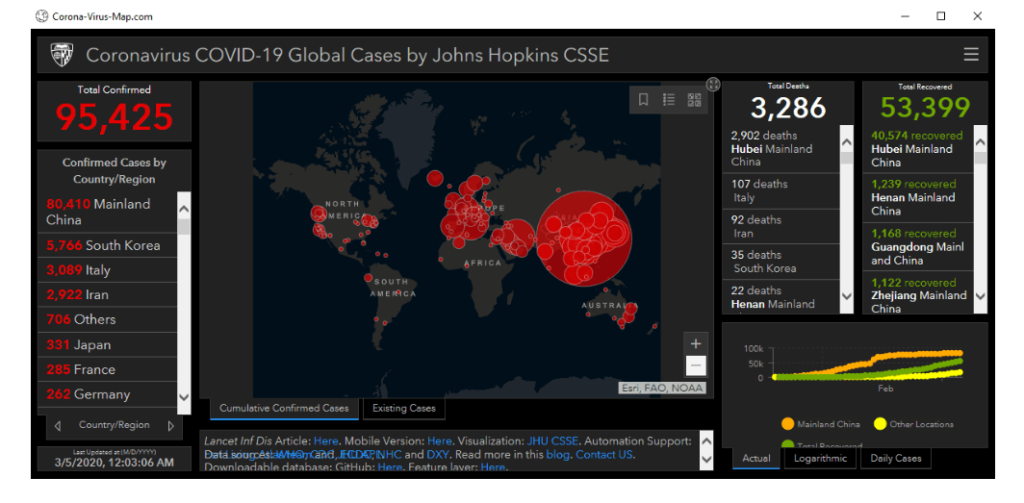 Fake Coronavirus Map of The John Hopkins University